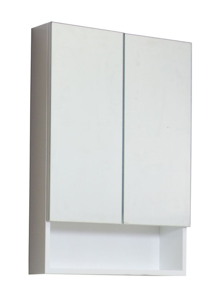 24 In. W x 32 In. H Modern Plywood-Melamine Medicine Cabinet In White Finish