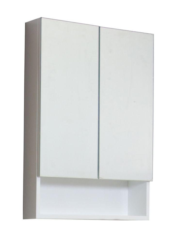 24 po W x 32 po. H Modern Plywood-mélamine Armoire à pharmacie En fini blanc