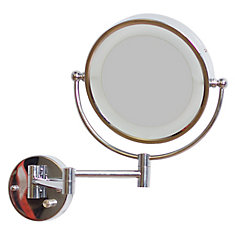 8.5 In. W Round LED Mirror With Light Dimmer And Dual 1x/5x Zoom