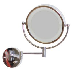 American Imaginations 8.5 In. W Round LED Mirror With Light Dimmer And Dual 1x/5x Zoom