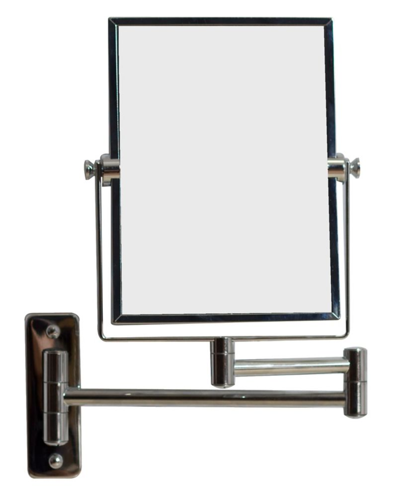 5 In. W x 13 In. H Rectangle Chrome Wall Mount Magnifying Makeup Mirror With Dual 1x/5x Zoom