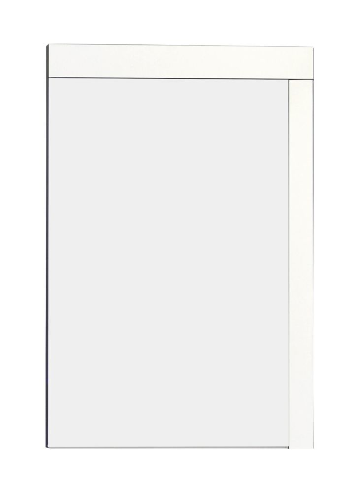 24 In. W x 32 In. H Modern Plywood-Melamine Wood Mirror In White Finish