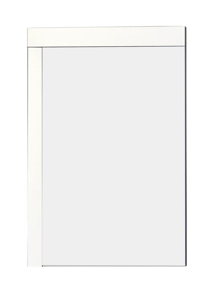 24 po W x 32 po. H Modern Plywood-Mélamine Bois Mirroir Dans fini blanc