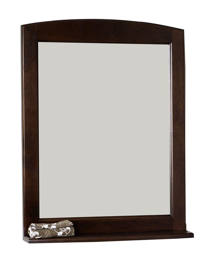 24 In. W x 32 In. H Traditional Birch Wood-Veneer Wood Mirror In Walnut Finish