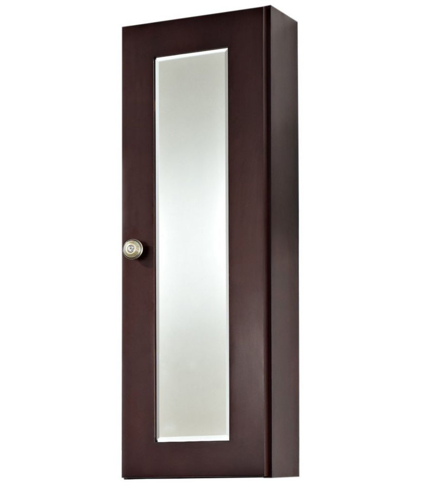 12 In. W x 36 In. H Transitional Cherry Wood-Veneer Medicine Cabinet In Coffee Finish