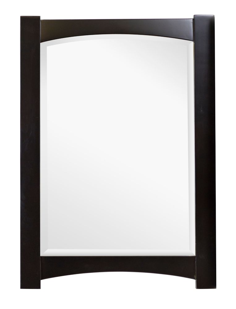 24 In. W x 34 In. H Transitional Birch Wood-Veneer Wood Mirror In Distressed Antique Walnut Finis...