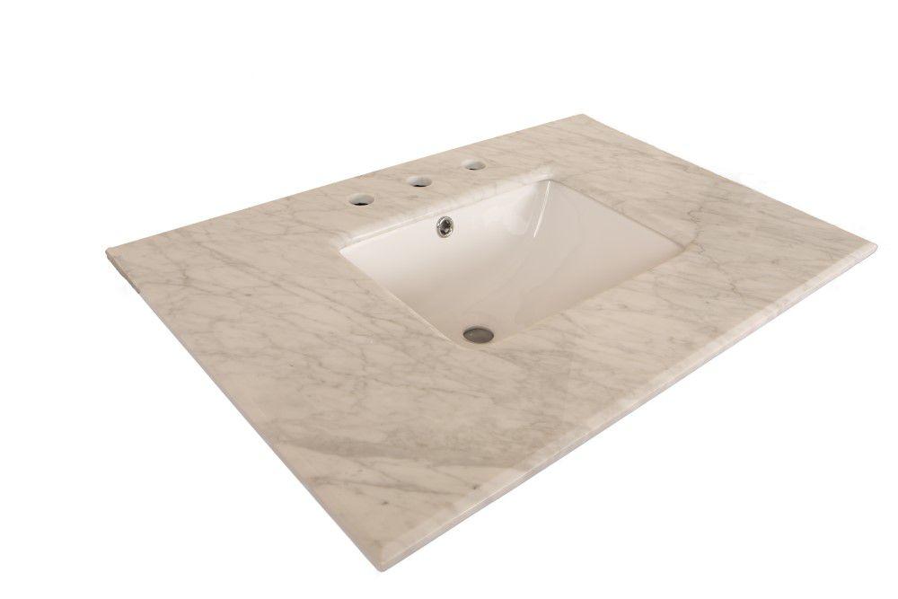Comptoir pour Meuble-lavabo en marbre de Carrare blanc de 30 po avec lavabo rectangulaire
