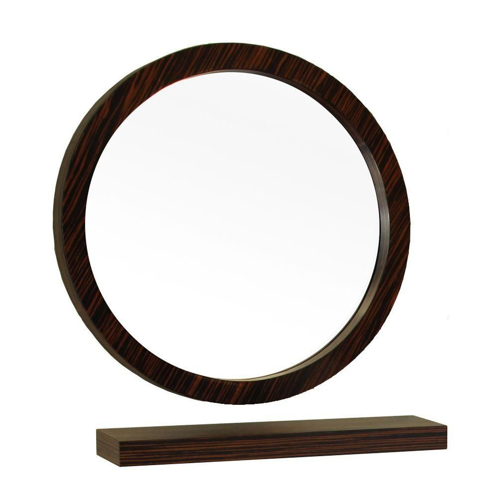 Bellaterra Indianola 22 In L X 22 In. W Solid Wood Frame Round Wall Mirror In Ebony/Zebra