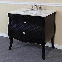 Bellaterra Veneto 35.40-inch W 2-Drawer Freestanding Vanity in Black With Engineered Stone Top in White