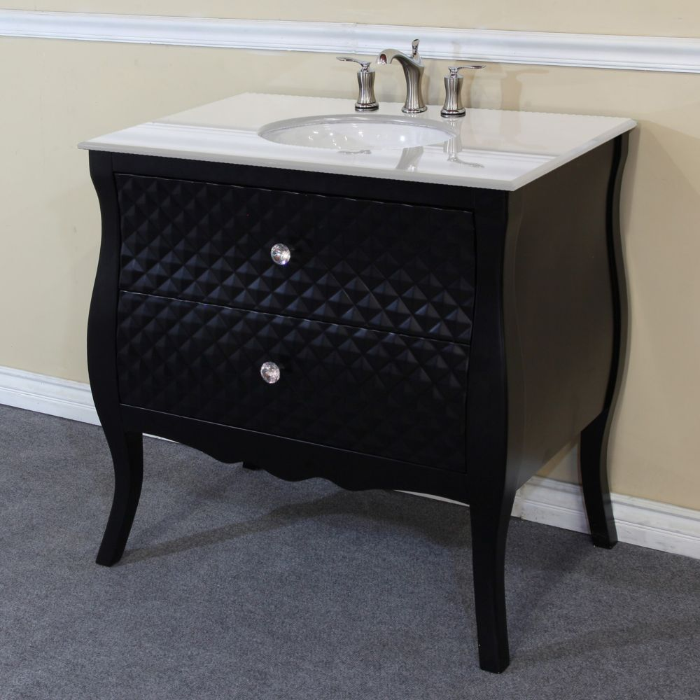 Bellaterra Veneto 35.40-inch W 2-Drawer Freestanding Vanity in Black With Engineered Stone Top in White