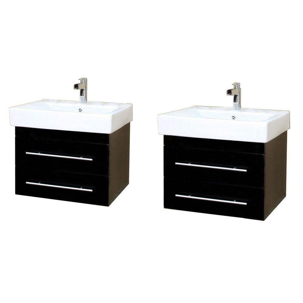 Lyon 49-inch W Double Vanity in Black with Ceramic Vanity Top in White