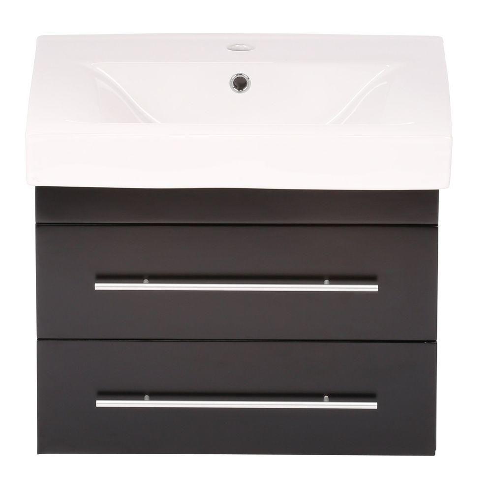 Lyon S Meuble-lavabo noir de 25 po avec comptoir en céramique blanche