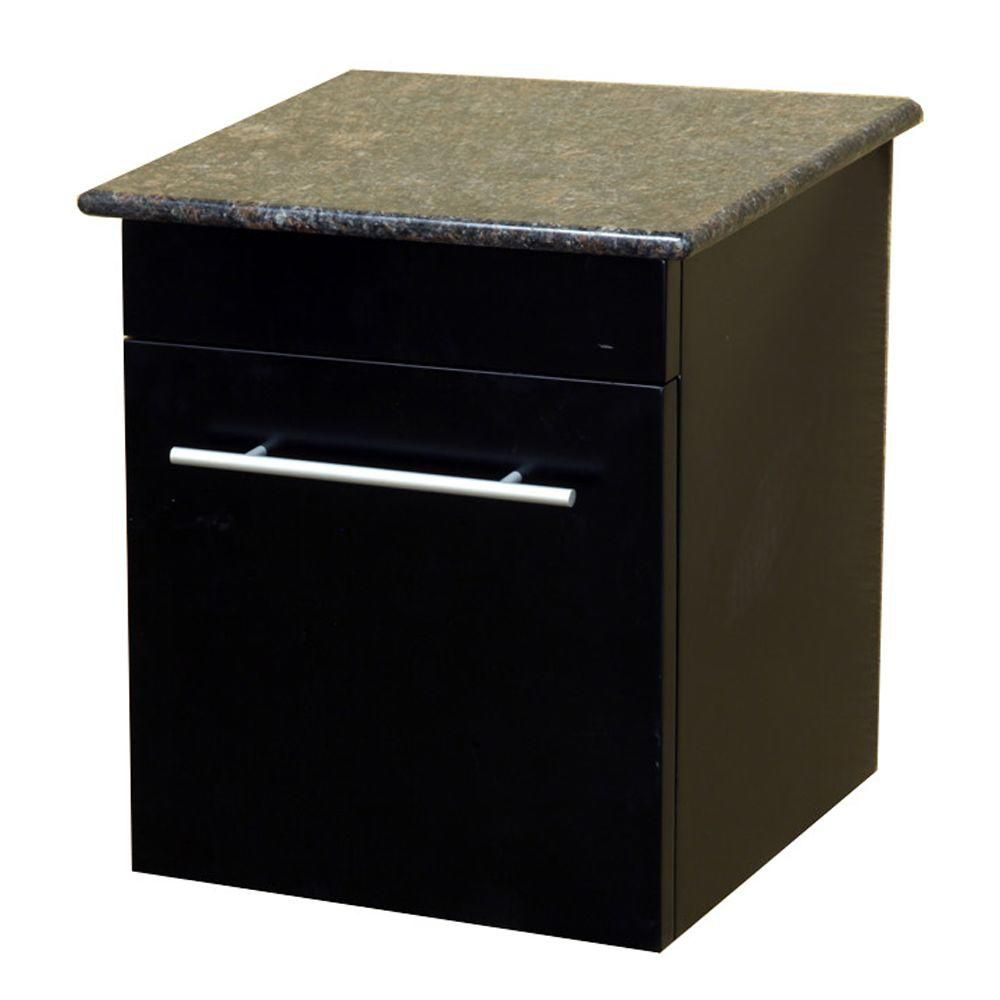 Norwalk 15 In. Solid Wood Side Cabinet in Black