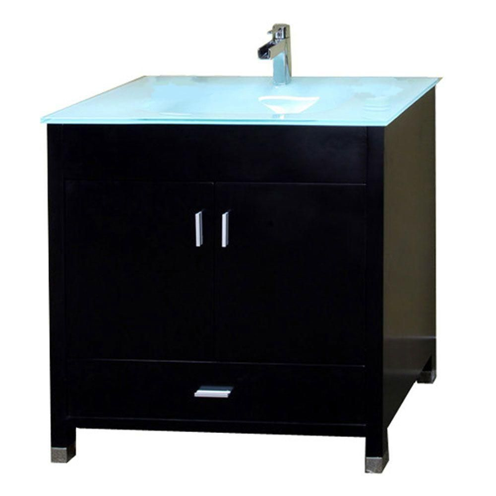 Oslo B 33-inch W Vanity in Black with Glass Top in Glacier
