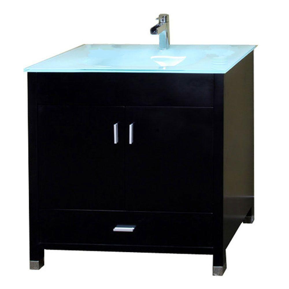 Bellaterra Oslo B 32.30-inch W 1-Drawer 2-Door Freestanding Vanity in Black With Top in Blue