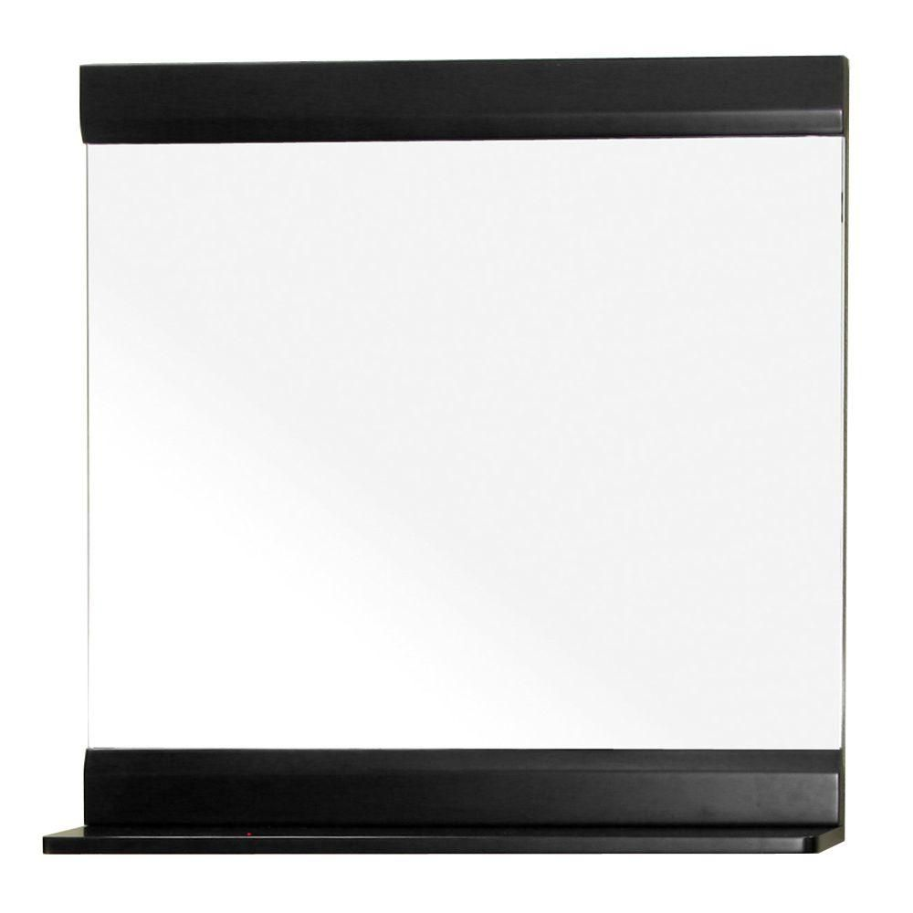 Aster 33 In. L X 32 In. W Solid Wood Frame Wall Mirror in Black