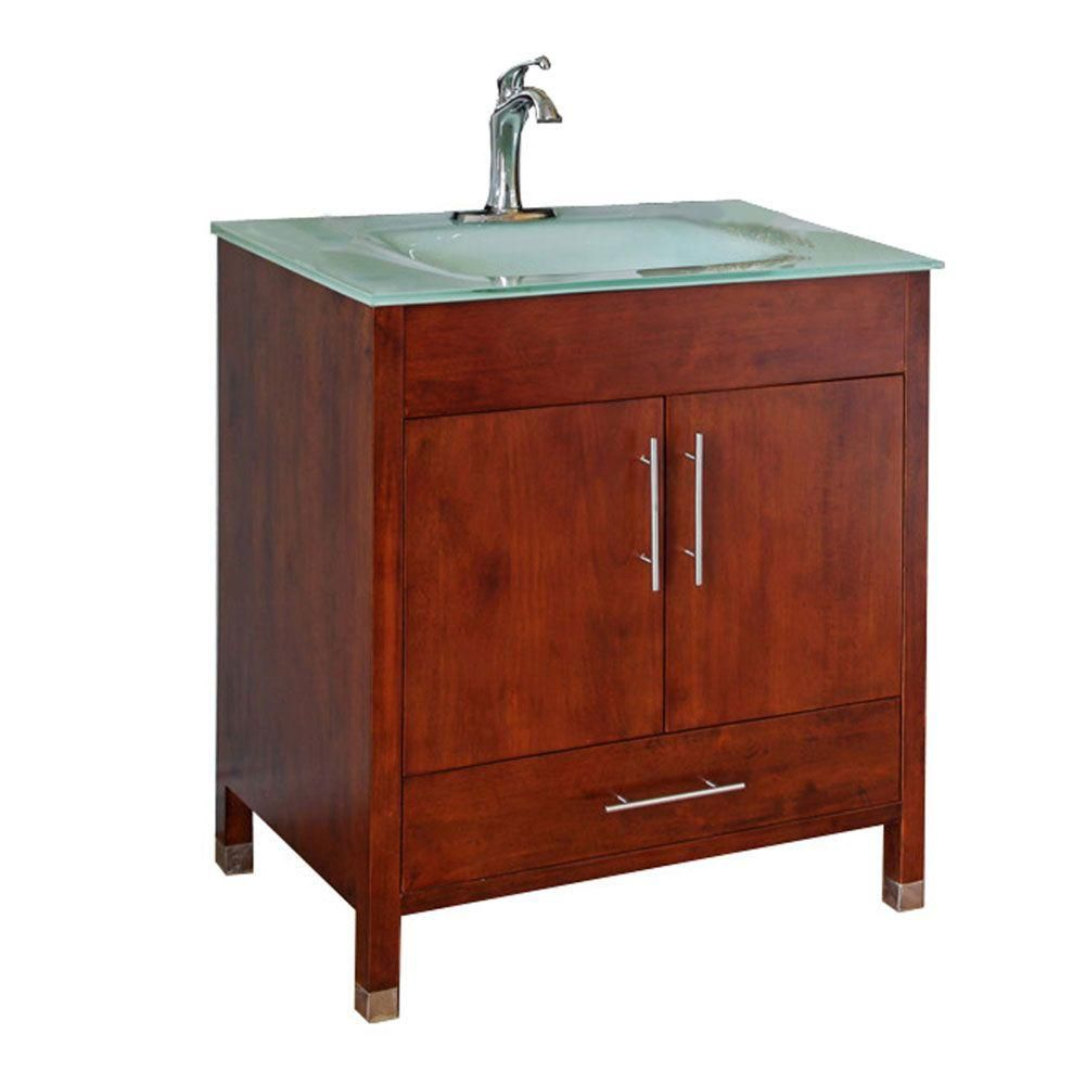 Oslo B 33-inch W Vanity in Walnut with Glass Top in Aqua
