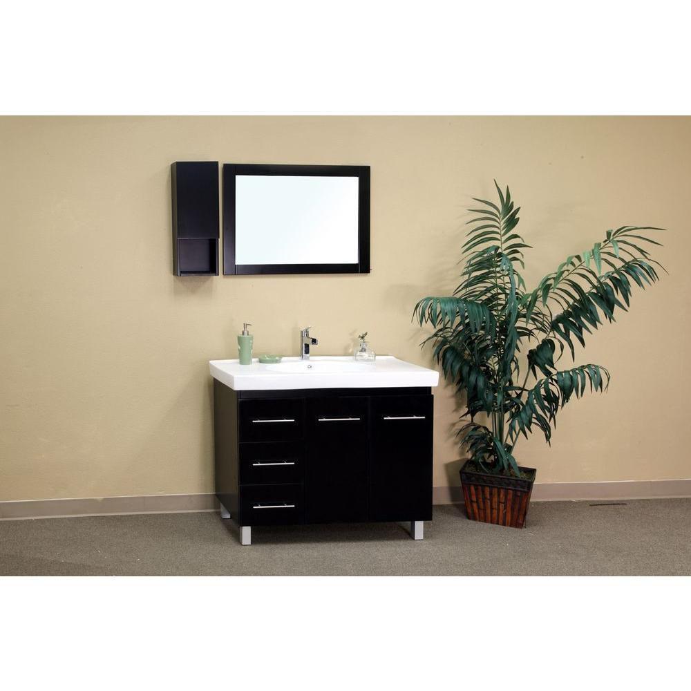 bellaterra palma bl meuble lavabo noir de 39 po avec comptoir en c ramique blanche home depot. Black Bedroom Furniture Sets. Home Design Ideas