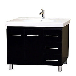 Bellaterra Midlands 39.60-inch W 3-Drawer 2-Door Freestanding Vanity in Black With Ceramic Top in White