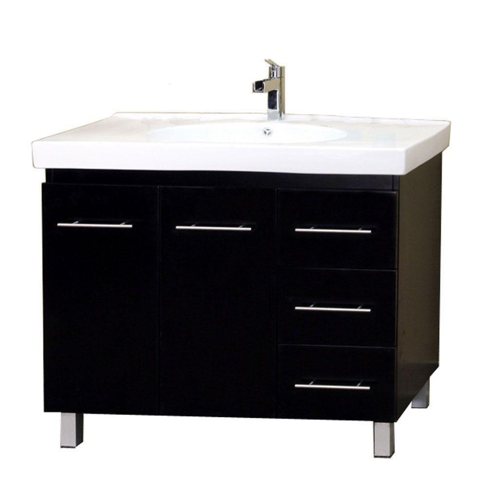 Midlands R 39-inch W Vanity in Black with Ceramic Top in White
