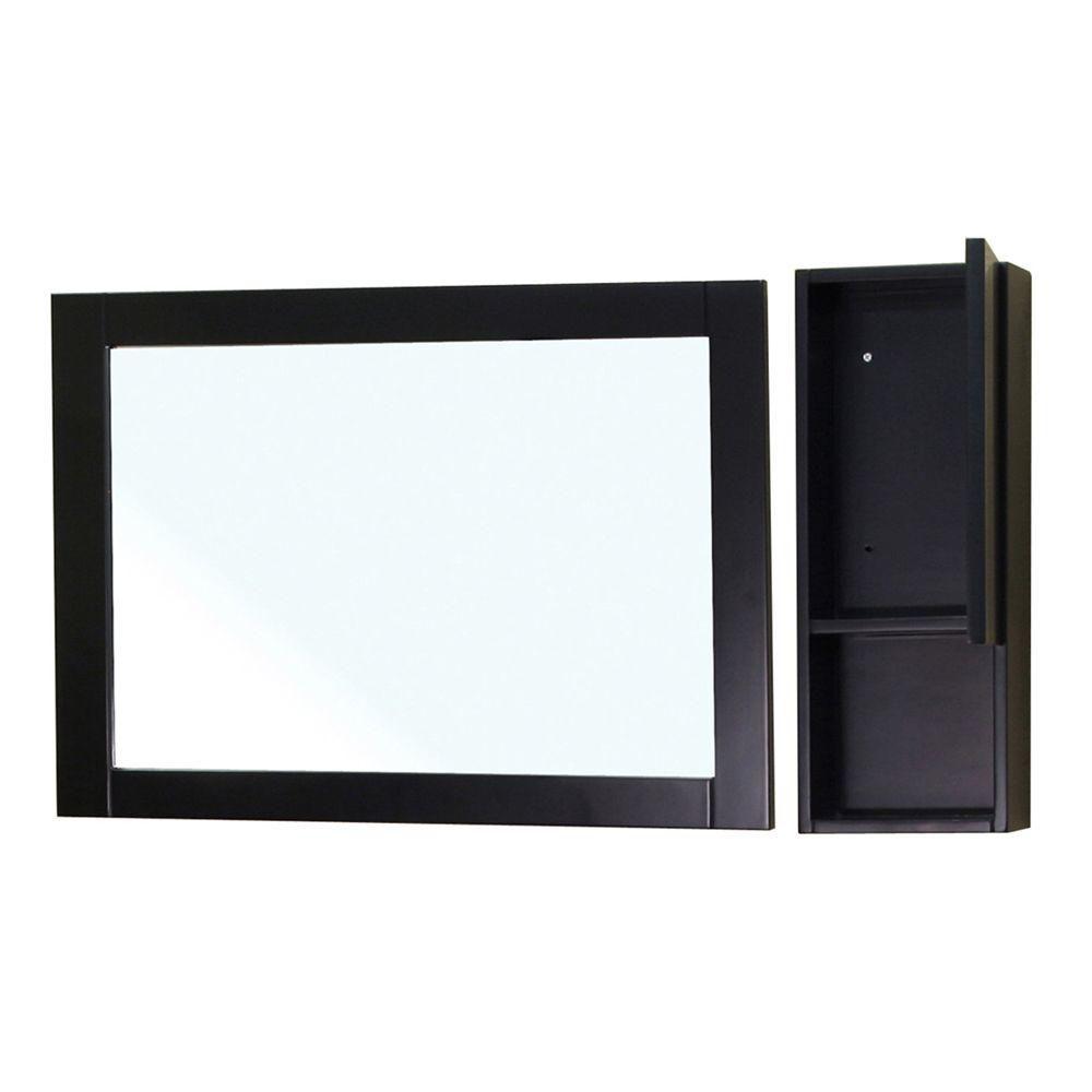 Bellaterra Limerick 24 In. L X 31 In. W Wall Mirror Side Cabinet in Black