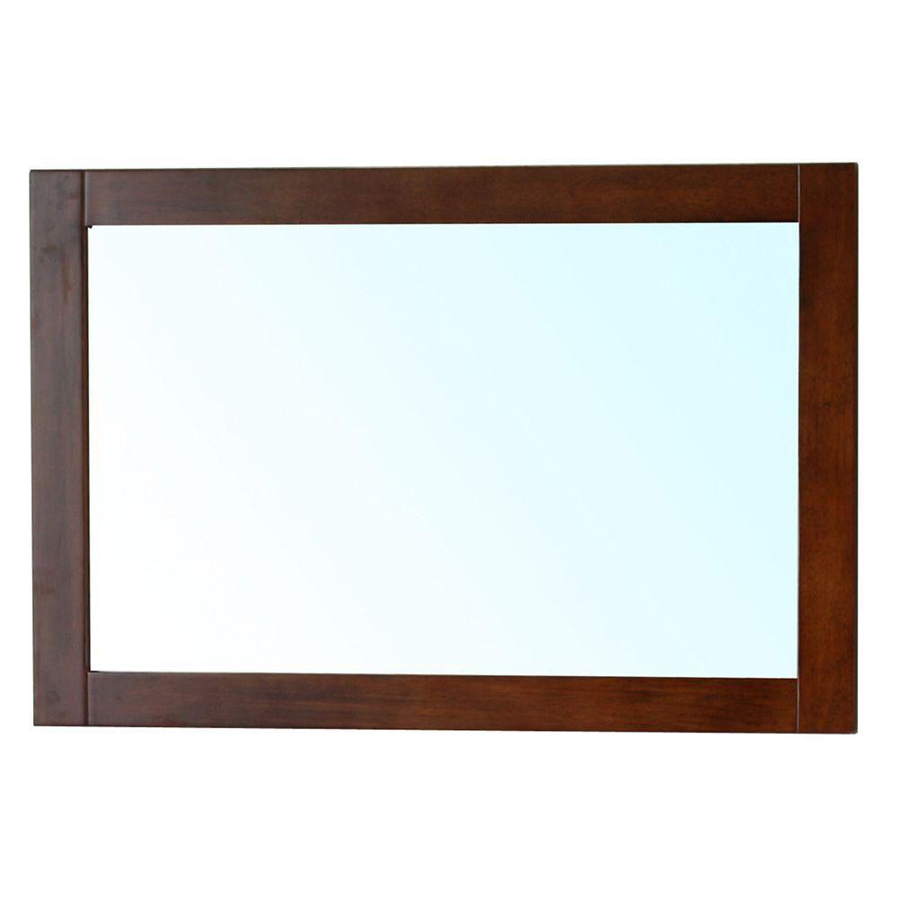 Bellaterra Cork 24 In. L X 36 In. W Solid Wood Frame Wall Mirror in Medium Walnut