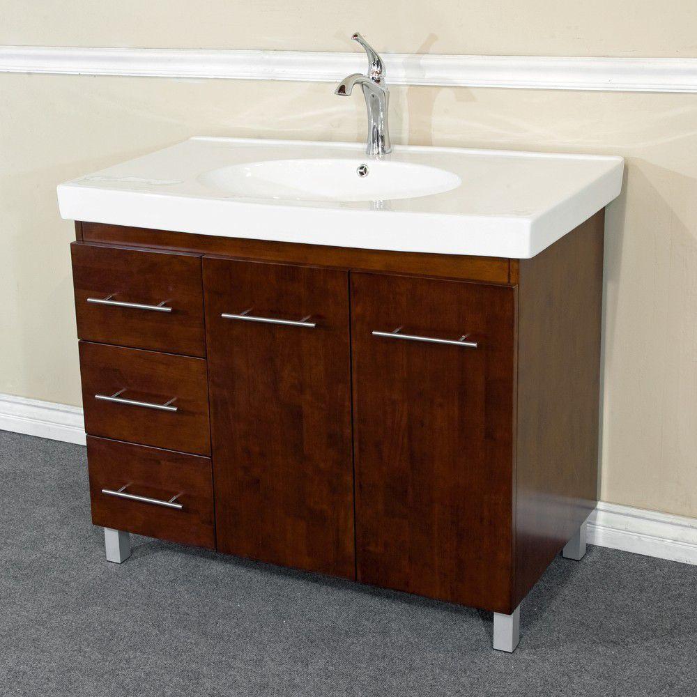 Midlands W-R 40-inch W Vanity in Walnut with Ceramic Top in White
