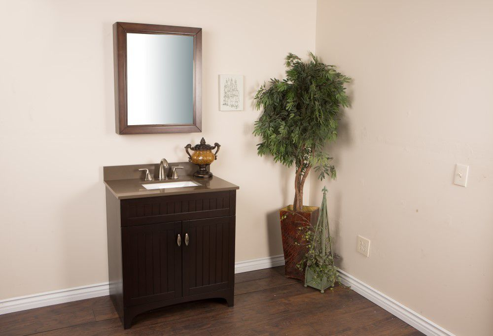 32-inch W Vanity in Sable Walnut Finish with Quartz Top in Taupe