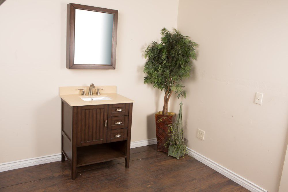 30-inch W Vanity in Sable Walnut Finish with Quartz Top in Cream