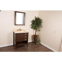 Bellaterra 30-inch W 3-Drawer 1-Door Vanity in Brown With Engineered Stone Top in Beige Tan