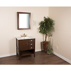 Bellaterra 30-inch W 3-Drawer 1-Door Freestanding Vanity in Brown With Engineered Stone Top in White