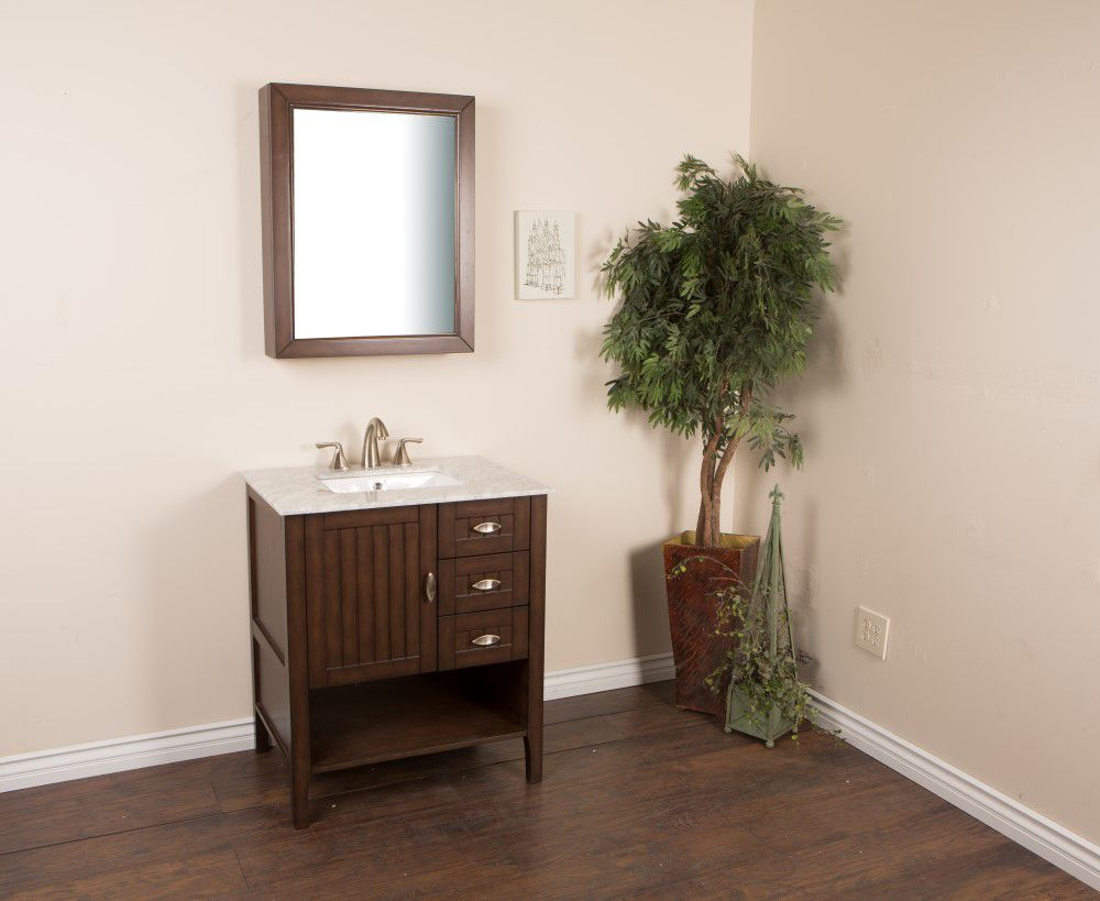 30-inch W Vanity in Sable Walnut Finish with Marble Top in White