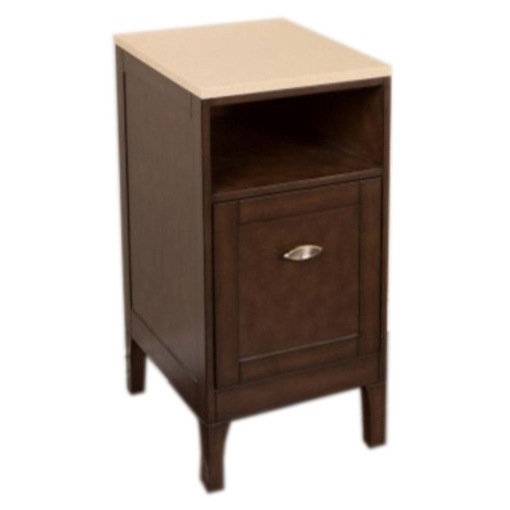 16-Inch  Vanity Cabinet in Sable Walnut with Quartz Top in Cream