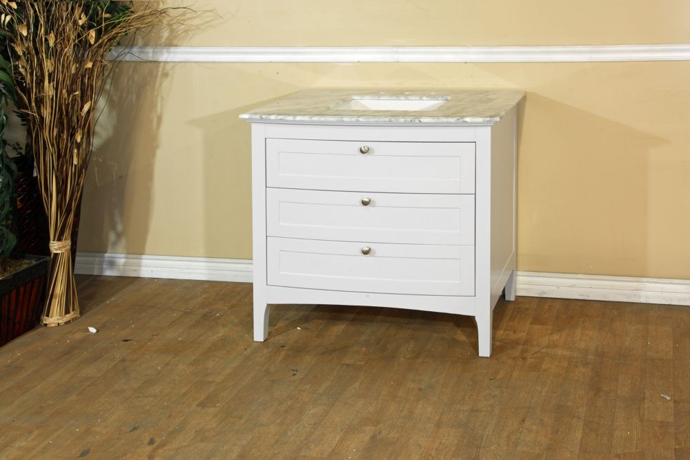 36-inch W Vanity in White with Marble Top in White