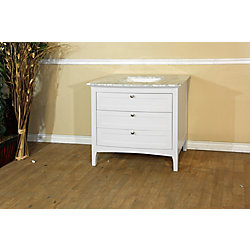 Bellaterra 36-inch W 3-Drawer Freestanding Vanity in White With Marble Top in White