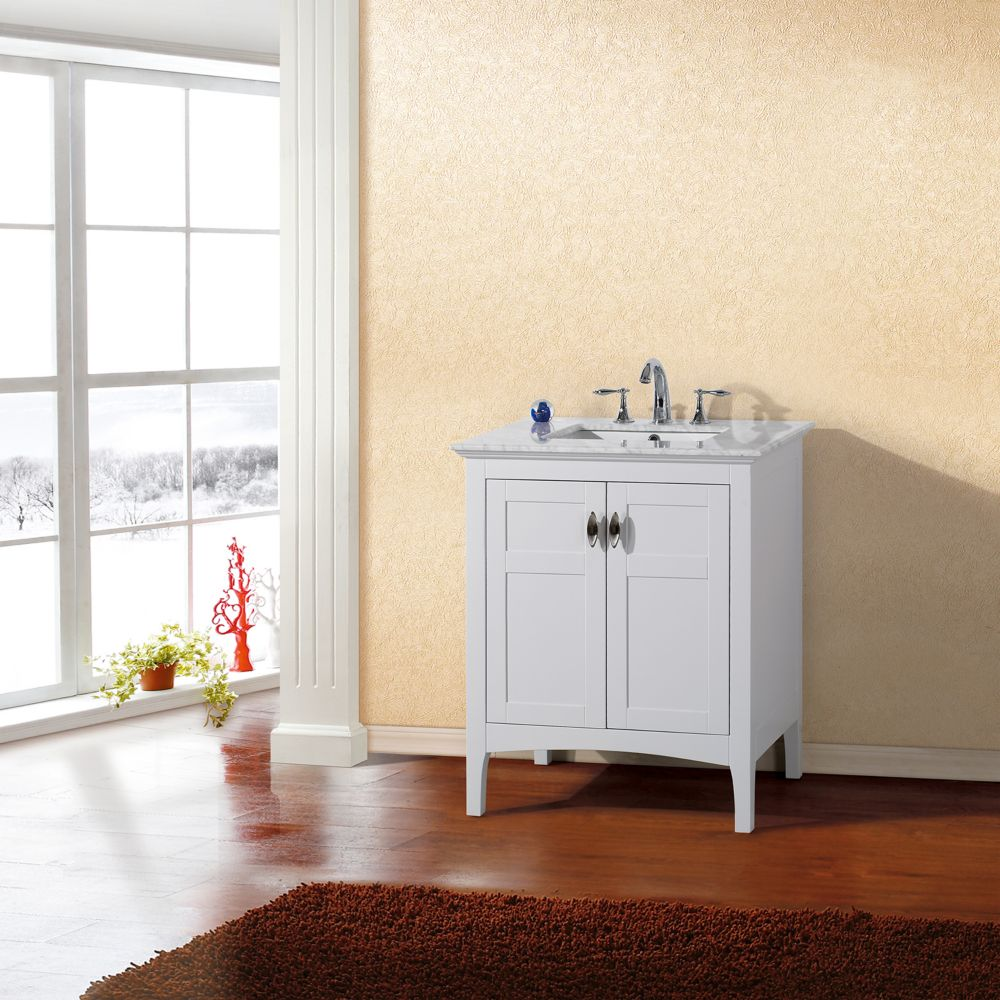 Bellaterra 30-inch W 2-Door Freestanding Vanity in White With Marble Top in White