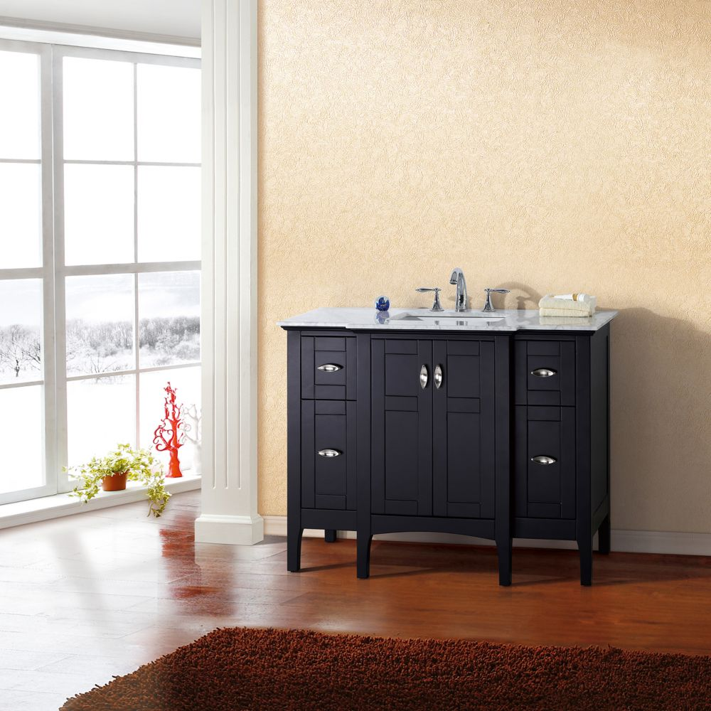 Bellaterra 45 Inch W 4 Drawer 2 Door Freestanding Vanity In Black With Marble Top In White The