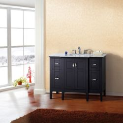 Bellaterra 45-inch W 4-Drawer 2-Door Freestanding Vanity in Black With Marble Top in White