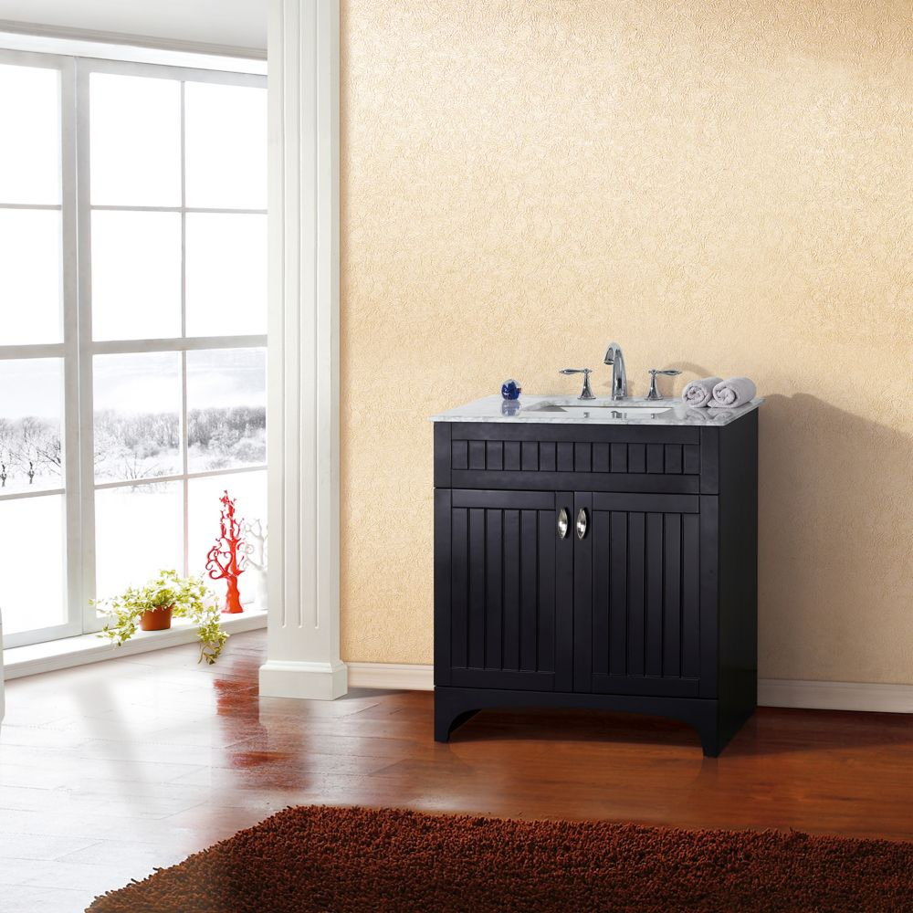 32-inch W Vanity in Espresso Finish with Marble Top in White