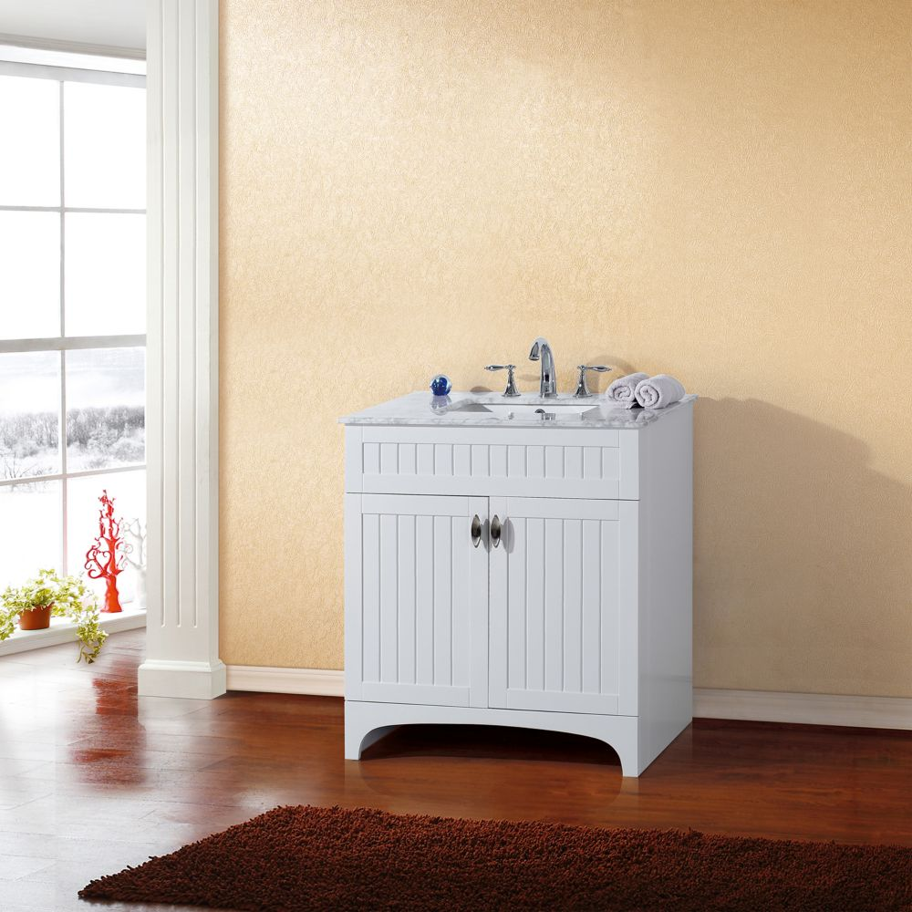 32-inch W Vanity in White Finish with Marble Top in White