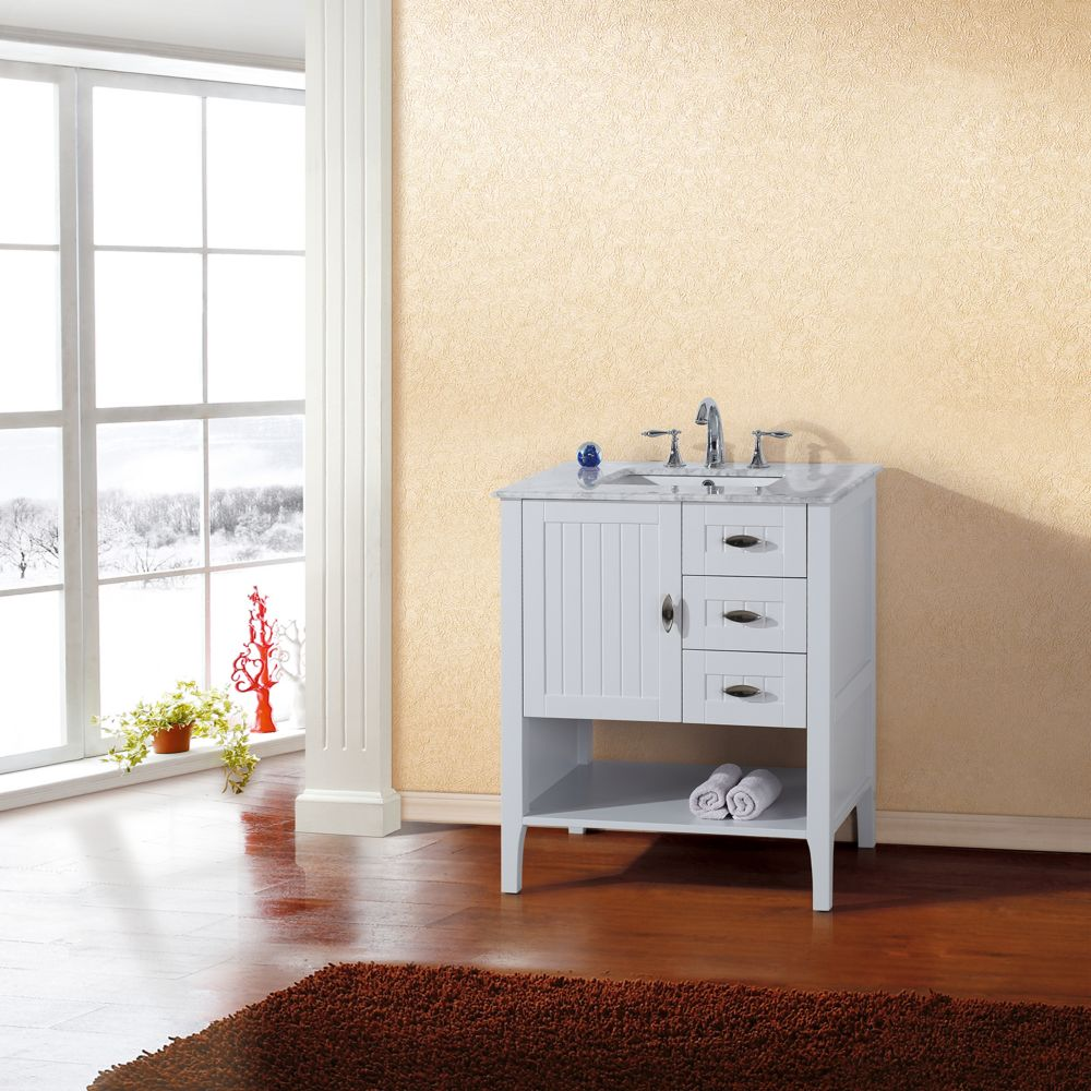 Bellaterra 30-inch W 3-Drawer 1-Door Freestanding Vanity in White With Marble Top in White