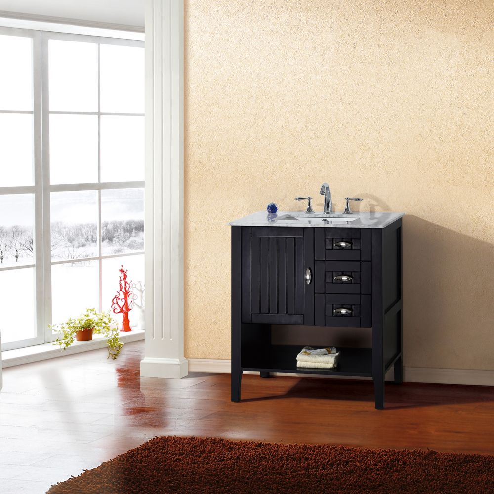 30-inch W Vanity in Espresso Finish with Marble Top in White