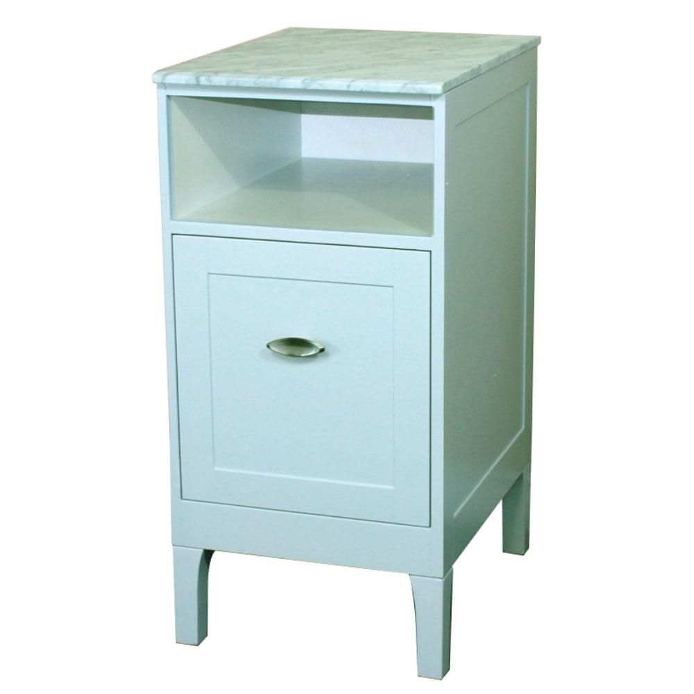 16 In. Cabinet in White with Marble Top in White