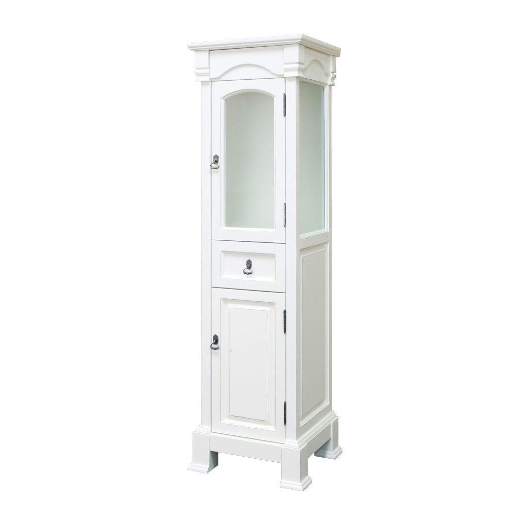 Bellaterra Bloomfield 18-inch W x 65-inch H x 17-inch D Bathroom Linen Storage Floor Cabinet in White