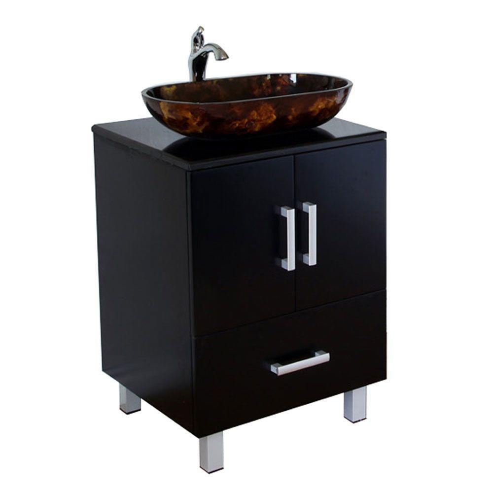 bellaterra essen meuble lavabo noir de 22 po avec comptoir en marbre noir home depot canada. Black Bedroom Furniture Sets. Home Design Ideas