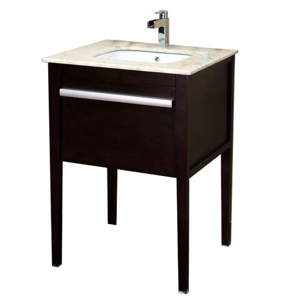 Upland 26-inch W Vanity in Dark Mahogany Finish with Marble Top in Cream