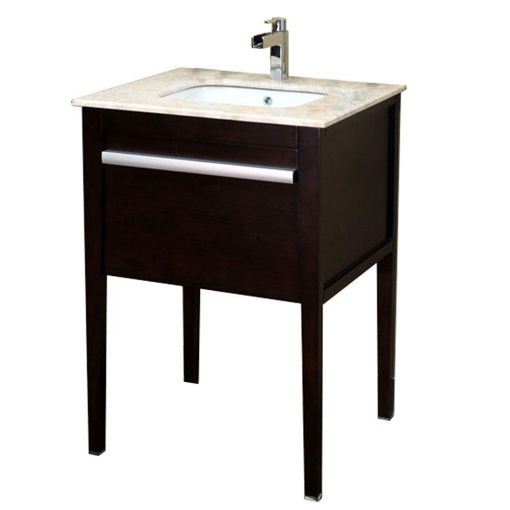 Upland Meuble-lavabo acajou foncé de 26 po avec comptoir en marbre crème