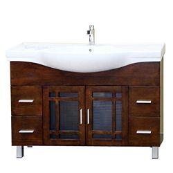 Bellaterra Nordic 48-inch W 4-Drawer 2-Door Freestanding Vanity in Brown With Ceramic Top in White
