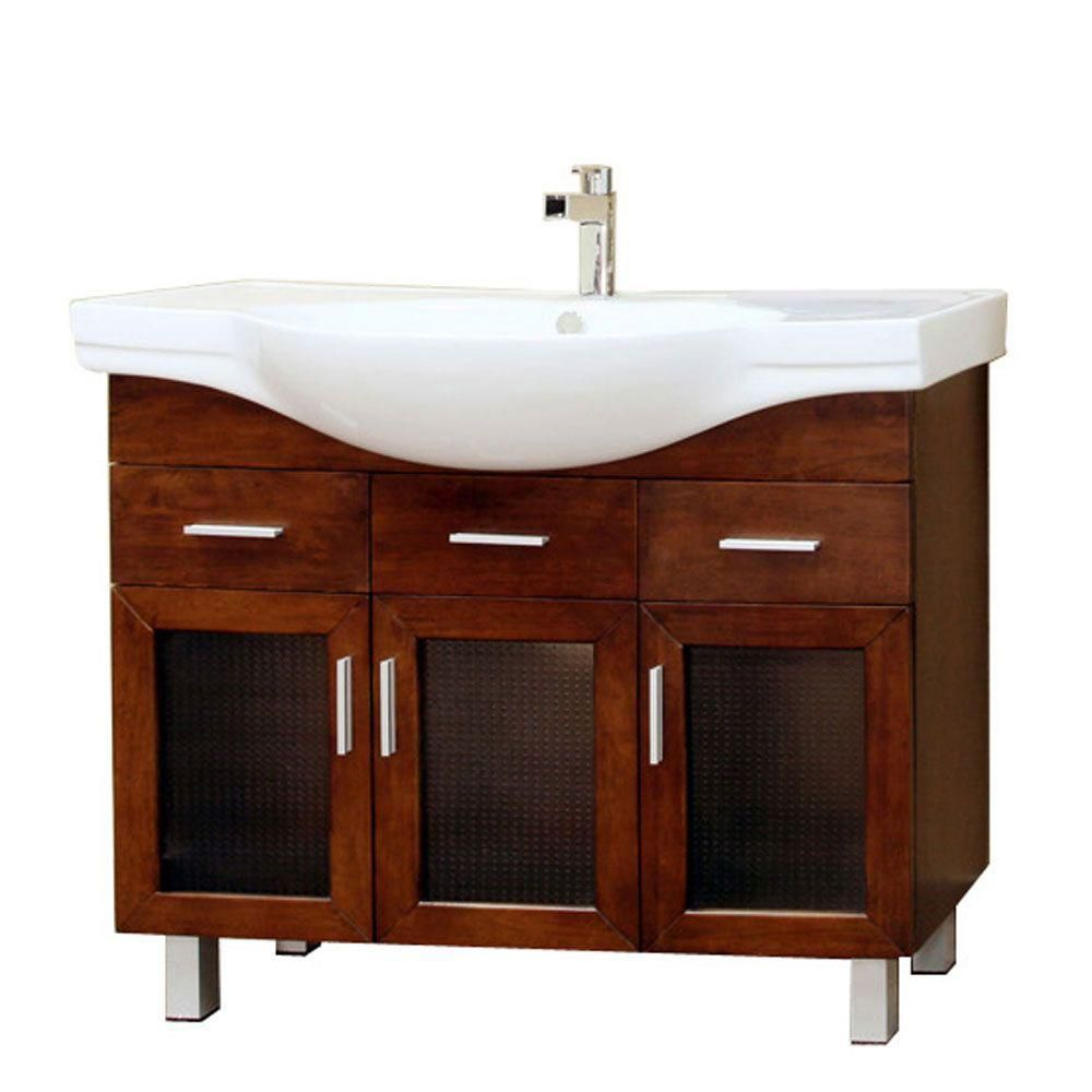 Metro 40-inch W Vanity in Walnut Finish with Ceramic Top in White