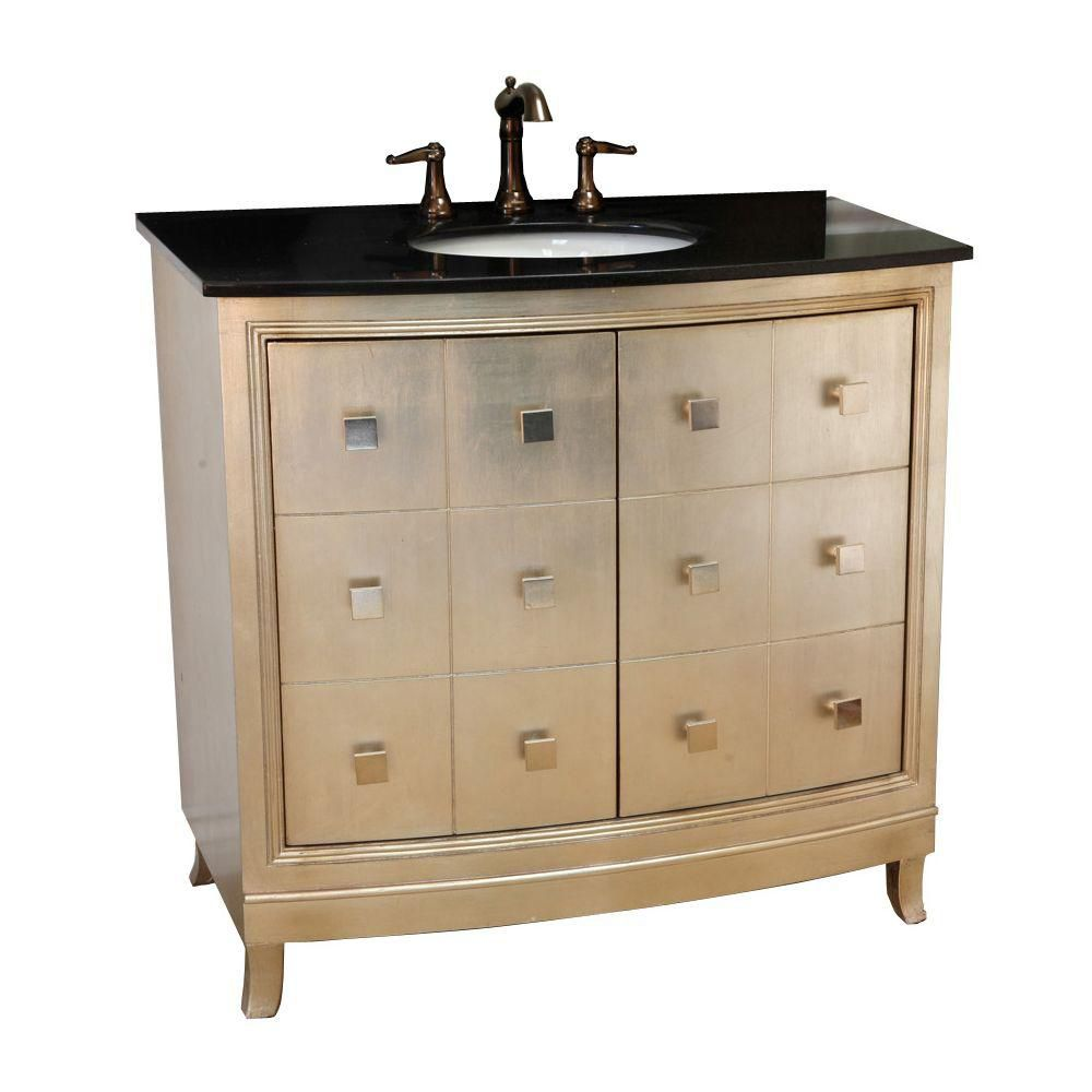 Doncaster 36-inch W Vanity in Bronze Silver Finish with Ceramic Top in Black Galaxy